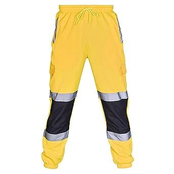 VECDY Hosen Herren Männer Straßenarbeit Hohe Sichtbarkeit Overalls Casual Pocket Work Casual Hosen Freizeit Sporthosen Streif