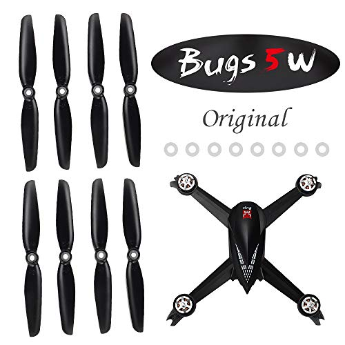 ElementDigital MJX 8Pcs Propeller for B5W GPS Drone Original 4Pcs Propeller A (CW), 4Pcs Propeller B (CCW), 8Pcs Silicone Rubber Ring, B5W Quadcopter Accessories Parts (2Set Original) (Black+White)