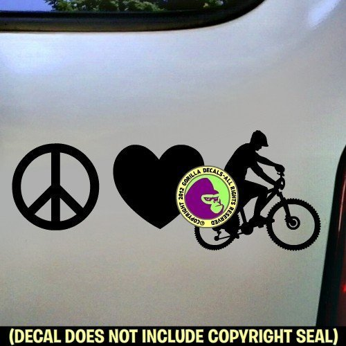 PEACE LOVE MOUNTAIN BIKING Vinyl Decal Sticker C