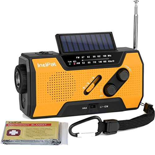 Intipal 2000Mah Emergency Solar Hand Crank Radio With Am Fm Noaa Weather Channel  1W Led Bright Zoom Flashlight  4 Led Reading Lamp  Support 4 Ways To Charge   With Emergency Blanket