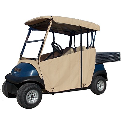 3 Sided Golf Cart Cover (TAN, Club CAR 2000+ w Utility Box/Rear Facing Seat)