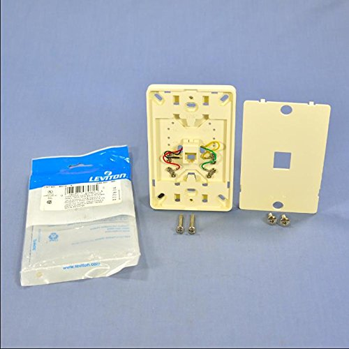 Leviton 40214-A Telephone Wall Jack, 6P4C, Screw Terminal, Light Almond, (Sgl Gang Wall)