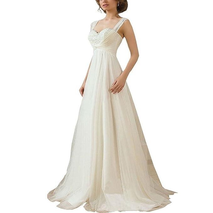 Yilian® una línea de tul encaje Up playa vestido de novia