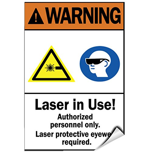 Laser In Use! Wear Protective Eyewear Authorised Only LABEL DECAL STICKER Sticks to Any - City Eyewear Rain