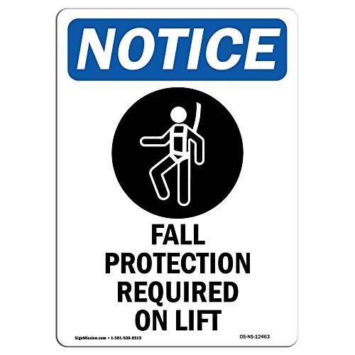 OSHA Notice Sign - Fall Protection Required Sign with Symbol | Choose from: Aluminum, Rigid Plastic or Vinyl Label Decal | Protect Your Business, Construction Site | Made in The USA from SignMission