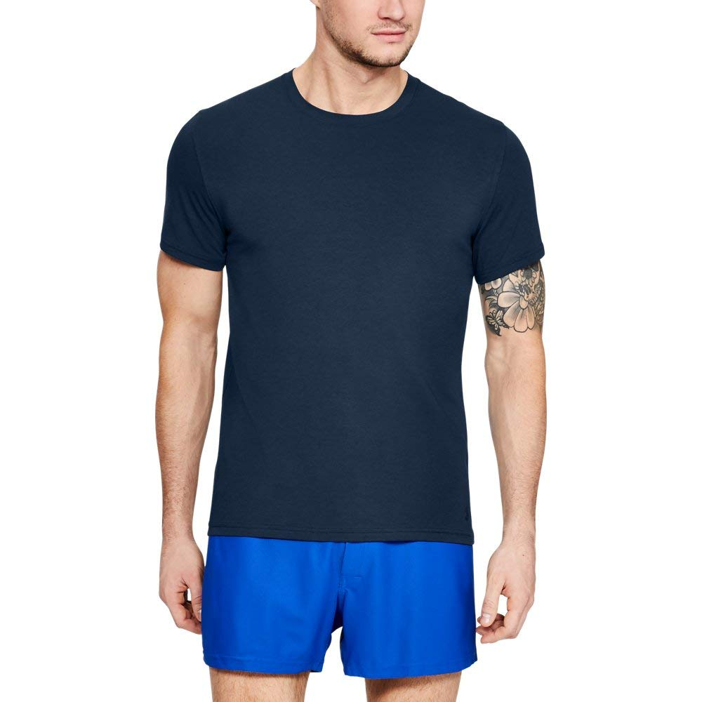 Under Armour Men's Charged Cotton Crew Under Shirt, Academy, Small