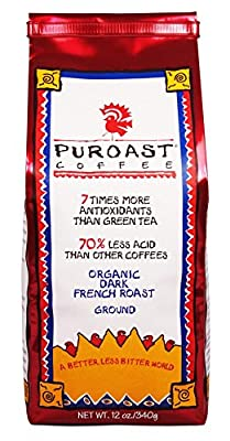 Puroast Low Acid Coffee Organic French Roast Ground Coffee, 12 Ounce Bag by Puroast Coffee