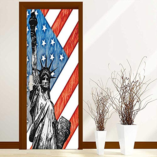 Creative Door Stickers Bedroom Doors Decor Sketchy Statue Cultural Icon States Freedom History Country Love Artwork Multi Indoor and Outdoor use W23.6 x H78.7 inch