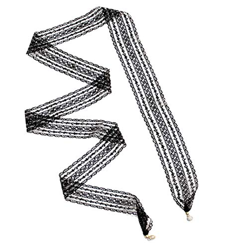 (GERINLY Lightweight Neck Scarf: Pretty Lace Print Hair Wrap (Black Lace))