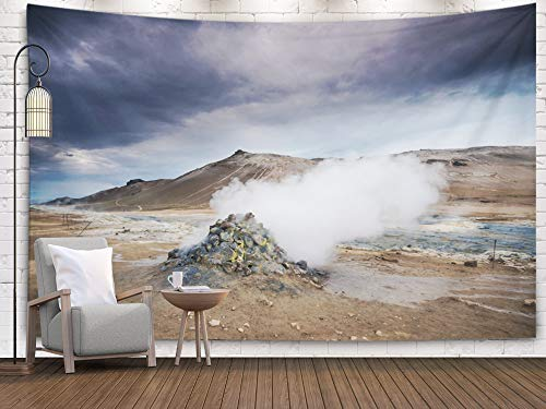 Tooperue Large Tapestry Wall Hanging, Dormitory Tapestry Room Decoration Outdoor 60X50 Inch Area in The North Iceland Near Lake Geothermal Myvatn Art Tapestry Beach Blanket Camping Tapestry