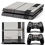 Ps4 Playstation 4 Console Skin Decal Sticker Old NES Retro + 2 Controller Skins Set