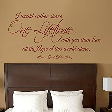 MairGwall Arwen Wall Quote Lord of the Rings One Lifetime - Romantic Love Wall Decal for Couples Bedroom Wedding Wall Decor (Black, Medium)
