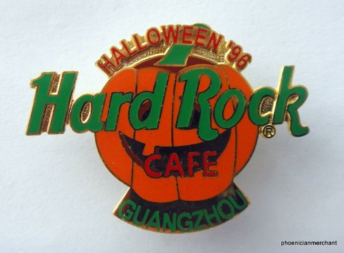 Halloween 1996 Green On Orange Laughing Pumpkin Logo Hard Rock Cafe Guangzhou]()