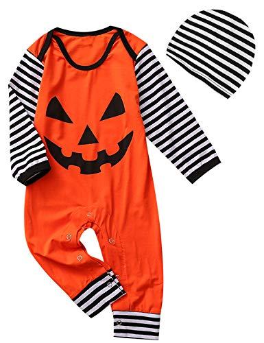 (Baby Boys Girls Outfit Set Long Sleeve Cartoon Halloween Pumpkin Face Romper with Hat (Orange Striped, 18-24 Months))