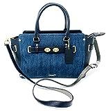Coach F26160 Blake 25 Black Leather Mix Carryall Handbag Blue Denim