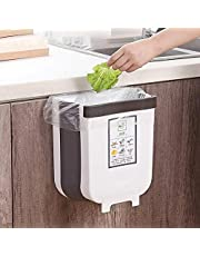 Amazon Prime AICONEZ Kitchen Trash Can, Cabinet Door Hanging Bin Trash Can,Hanging Trash Can Collapsible Small Garbage Waste Bin for Kitchen Cabinet Door Creative Wall Mounted Folding Waste Bin, With Two Sticker Wet And Dry Garbage Option (White)