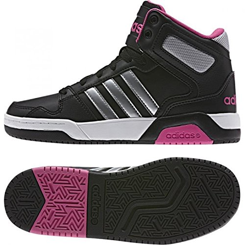 adidas NEO BB9TIS K Basketball Shoe (Little Kid/Big Kid), Black/Silver/Pink, 12 M US Little Kid