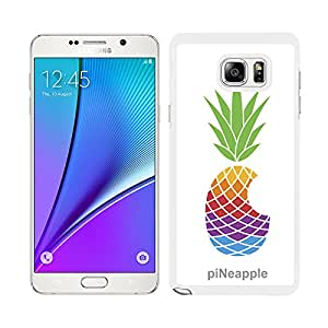 "Funda carcasa para Samsung Galaxy Note 5 diseño ilustración piña de colores ""piNeapple"" borde blanco"