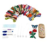 Embroidery Pen Punch Needles Set Needle Scissors Flower Patterns Kit Knitting Sewing Tools for Women Mom Gift