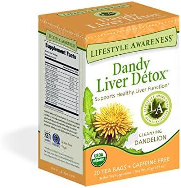 Lifestyle Awareness Teas, Caffeine Free Dandy Liver Detox Tea, 20 Count