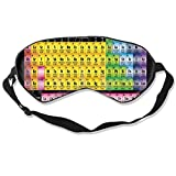 Facial Yoga Science - Sleep Mask Printable Periodic Tables - Science Notes Eye Mask Cover With Adjustable Strap Eye Shades For Travel, Nap, Meditation, Blindfold