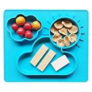 Ledsolver Food Grade Silicone Training Plate, Non-Slip Kids Food Placemats, Suction Baby Dishes with Bonus Small Bib (Blue) …