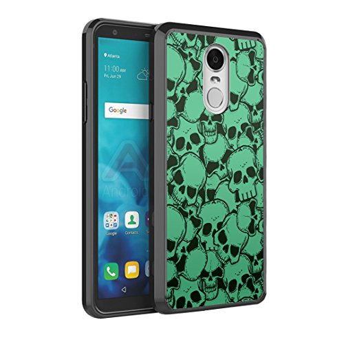 Capsule Case Compatible with LG Stylus 4, LG Stylo 4 (Year 2018), LG Stylus Q [Hybrid Slim Back Shield Fused TPU Edge Bumper Case Black] for LG Stylo 4 - (Skull Green)]()