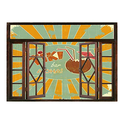 SCOCICI Wall Sticker,Window Looking Out Into/Tiki Bar Decor,Vintage Design Exotic Cocktail Aged Look Aloha Fun Party Decorative,Orange Almond Green Brown/Wall Sticker Mural