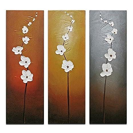 Wieco Art Flores obras de arte decorativo moderno y contemporáneo 3 paneles 100% diseño Floral pintado a mano pinturas al óleo sobre lienzo decoración ...