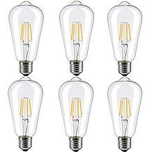 INNOCCY E26 Edison LED ST64 4W 2700K SoftWarm Vintage Style LED Filament Light Bulb, 6 Pack