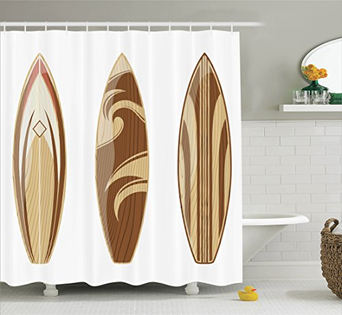 Ambesonne Surfboard Decor Collection, Wooden Surfboards Adventurous Wood Color Natural Classic Design, Polyester Fabric Bathroom Shower Curtain, 75 Inches Long, Peru Cream Tan