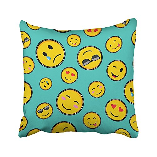 Emvency Decorative Throw Pillow Covers Cases Colorful Patch Vibrant Color Emoji Smiley Face Trendy Texting Symbols in Pop Style Green Cute 16x16 inches Pillowcases Case Cover Cushion Two Sided -