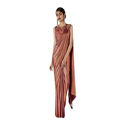 Amazon.com: Designer Bollywood Lycra Gown Style Draped Saree Sari ...