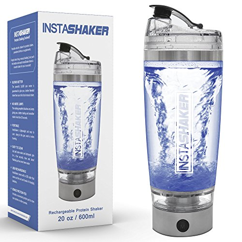 Price comparison product image InstaShaker Protein Shaker Bottle - Electric Blender Bottle 20 oz / Vortex Mixer Cup / USB Rechargeable / Complimentary Powder Storage Compartment