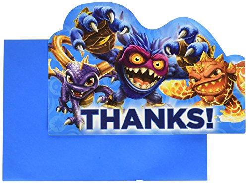 "Amscan Swashbuckling Skylanders Birthday Party Postcard Thank You Cards Supply (8 Pack), 4 1/4"" x 6 1/4"", Blue"