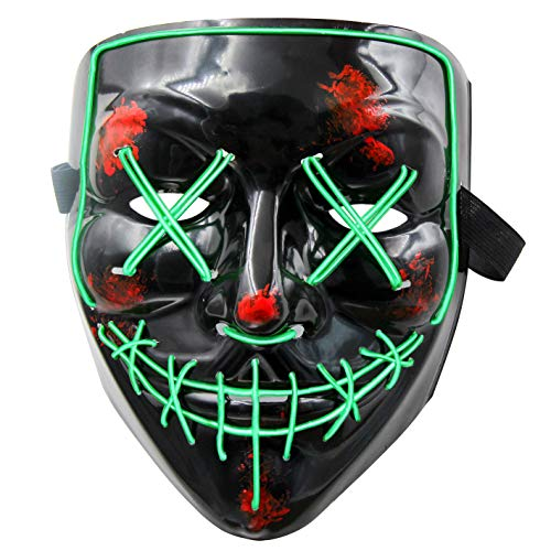 heytech LED Mask Halloween Scary Mask Cosplay Led Costume Mask EL Wire Light up for Halloween Festival Party (Green)