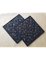 Black Red Cherries Potholders, Set of 2, Quilted Trivets, Pair of Hot Pads, Pot Holders, Retro Gift Ideas, Vintage Kitchen Home Decor, Cherry Themed Gift Ideas, Gifts Under 20, Fifties Pin Up Kitchen