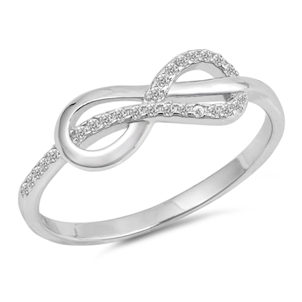 White CZ Infinity Knot Criss Cross Ring New .925 Sterling Silver Band Size 8