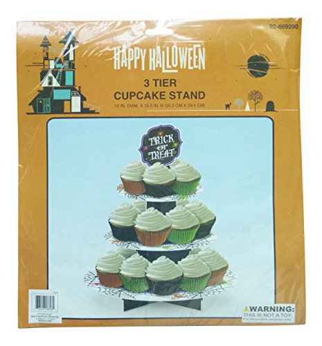 Cupcake Stand 3-Tier Trick or Treat Halloween Disposable -