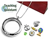 TEACHING ASSISTANT Memory Locket Pendant Set, Floating Charms, Sterling Plated Necklace, Gift Box