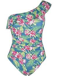 cfc0d8eae6b Women's One Piece Swimsuits One Shoulder Swimwear Asymmetric Ruffle  Monokinis Bathing Suits