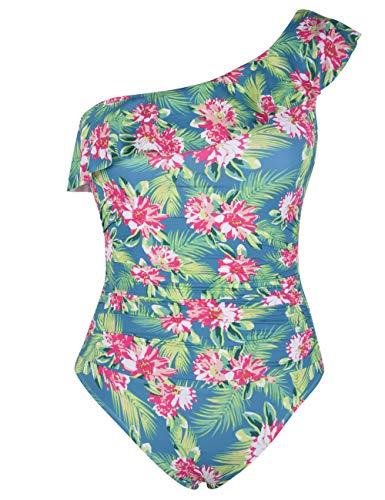 Hilor Women's One Piece Swimsuits One Shoulder Swimwear Asymmetric Ruffle Monokinis Bathing Suits Green Leaves 6
