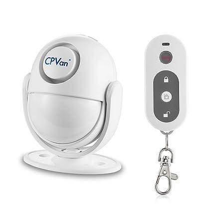 CPVAN Sensores de movimiento PIR, Detector de movimiento infrarrojo inalámbrico con Control Remoto,Sirena