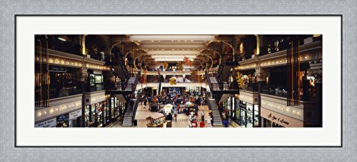 Interiors of a shopping mall, Bourse Shopping Center, Philadelphia, Pennsylvania, USA by Panoramic Images Framed Art Print Wall Picture, Flat Silver Frame, 44 x 20 - Philadelphia Shopping Center