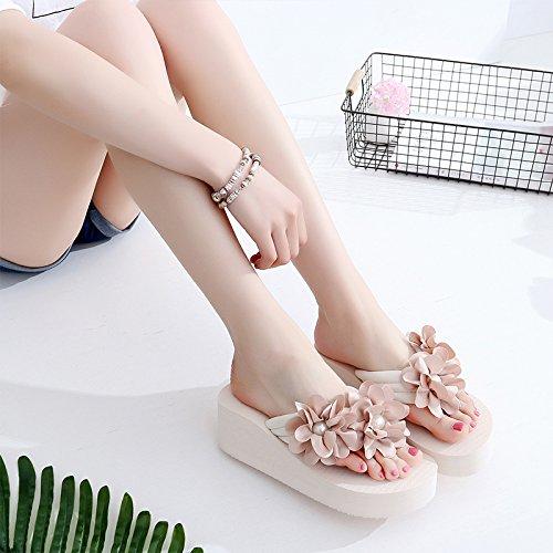 KPHY-Flores Flip Flops Outer Wear Cool Zapatillas Arroz Blanco Skidproof Pendiente De Fondo Grueso Sandalias De Tacones Cuarenta Thirty-five