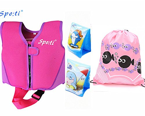 Rayma Baby UPF 50+ Life Jacket New Swimming Learner Protection Vest New Added Cross Belt for Safety For Baby New Added Cross Belt Package With Arm Bands (Purple, S 20-33lbs)
