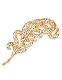 14k Gold Filigree Feather Broach Pin