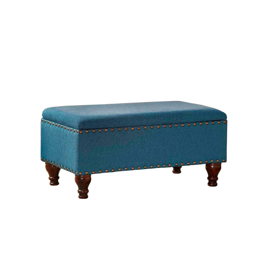 Kinfine HomePop Linen Storage Bench with Nailhead Trim and Hinged Lid, Blue