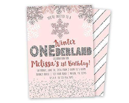 Pink Silver Winter ONEderland Invitations Glitter 1st First Birthday