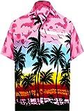 LA LEELA Men's Regular Fit Hawaiian Shirt Beach Aloha Party Camp Shirt Printed